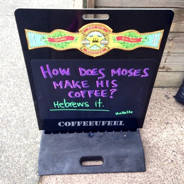 COFFEEUFEEL - Hehe👨😇 #havanacoffee #hebrew #coffee #jokeoftheday #Oneroa #Waiheke